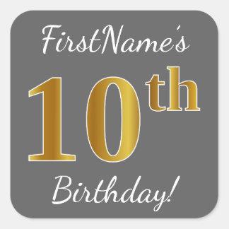 Gray, Faux Gold 10th Birthday + Custom Name Square Sticker