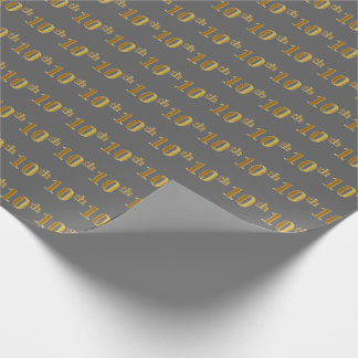 Gray, Faux Gold 10th (Tenth) Event Wrapping Paper