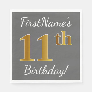 Gray, Faux Gold 11th Birthday + Custom Name Disposable Napkins