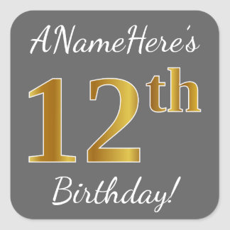 Gray, Faux Gold 12th Birthday + Custom Name Square Sticker
