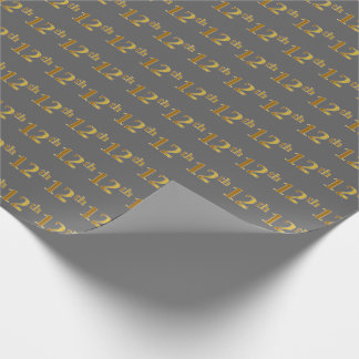 Gray, Faux Gold 12th (Twelfth) Event Wrapping Paper