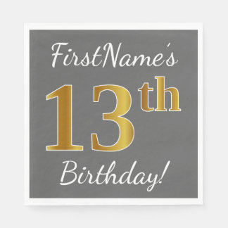 Gray, Faux Gold 13th Birthday + Custom Name Disposable Napkin