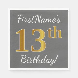 Gray, Faux Gold 13th Birthday + Custom Name Napkin