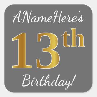 Gray, Faux Gold 13th Birthday + Custom Name Square Sticker