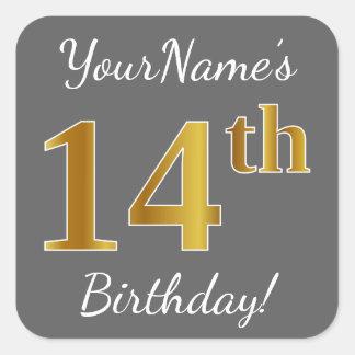 Gray, Faux Gold 14th Birthday + Custom Name Square Sticker