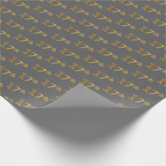 Gray, Faux Gold 17th (Seventeenth) Event Wrapping Paper