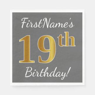 Gray, Faux Gold 19th Birthday + Custom Name Disposable Napkins