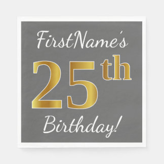 Gray, Faux Gold 25th Birthday + Custom Name Disposable Napkin