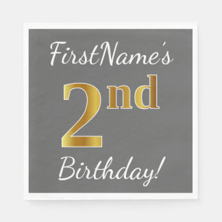 Gray, Faux Gold 2nd Birthday + Custom Name Paper Napkin