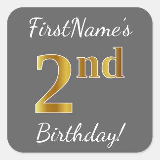 Gray, Faux Gold 2nd Birthday + Custom Name Sticker