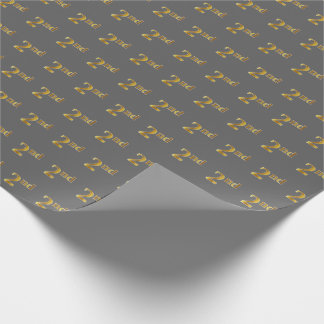 Gray, Faux Gold 2nd (Second) Event Wrapping Paper