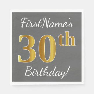 Gray, Faux Gold 30th Birthday + Custom Name Paper Napkin