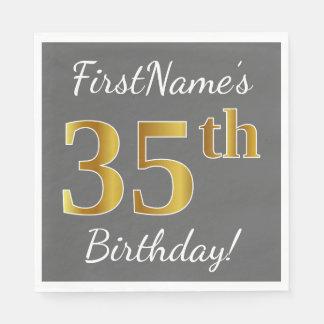 Gray, Faux Gold 35th Birthday + Custom Name Paper Napkin