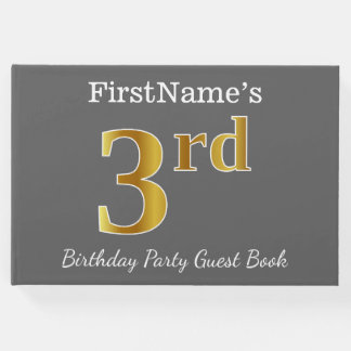 Gray, Faux Gold 3rd Birthday Party + Custom Name Guest Book
