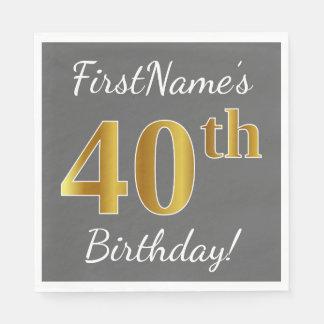 Gray, Faux Gold 40th Birthday + Custom Name Disposable Napkins