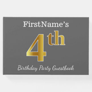 Gray, Faux Gold 4th Birthday Party + Custom Name Guest Book