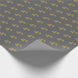 Gray, Faux Gold 4th (Fourth) Event Wrapping Paper