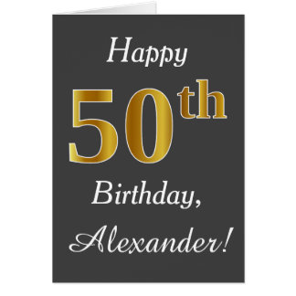 Gray, Faux Gold 50th Birthday + Custom Name Card