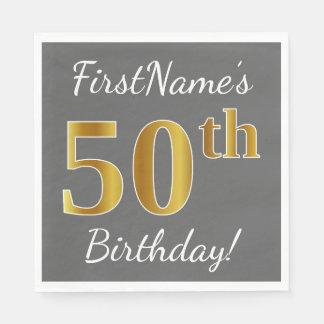 Gray, Faux Gold 50th Birthday + Custom Name Paper Napkin