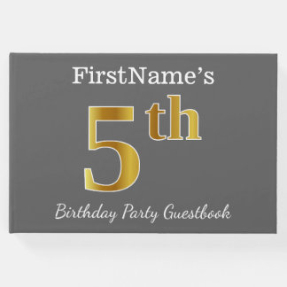 Gray, Faux Gold 5th Birthday Party + Custom Name Guest Book