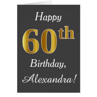 Gray, Faux Gold 60th Birthday + Custom Name Card