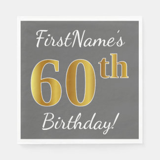 Gray, Faux Gold 60th Birthday + Custom Name Paper Napkin