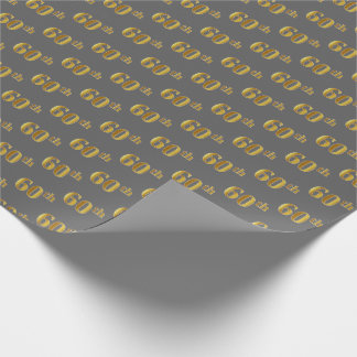 Gray, Faux Gold 60th (Sixtieth) Event Wrapping Paper
