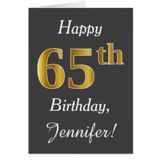 Gray, Faux Gold 65th Birthday + Custom Name Card