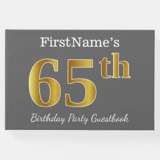 Gray, Faux Gold 65th Birthday Party + Custom Name Guest Book