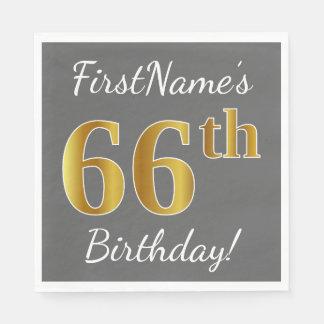 Gray, Faux Gold 66th Birthday + Custom Name Napkin