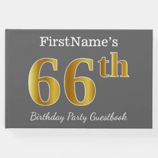 Gray, Faux Gold 66th Birthday Party + Custom Name Guest Book