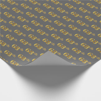 Gray, Faux Gold 68th (Sixty-Eighth) Event Wrapping Paper