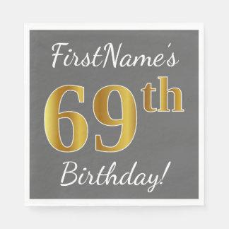 Gray, Faux Gold 69th Birthday + Custom Name Napkin