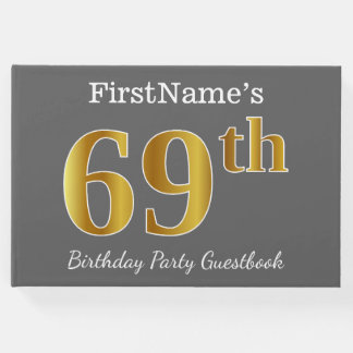 Gray, Faux Gold 69th Birthday Party + Custom Name Guest Book