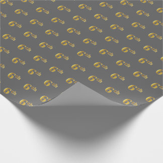 Gray, Faux Gold 6th (Sixth) Event Wrapping Paper