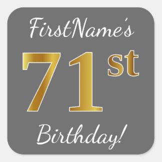 Gray, Faux Gold 71st Birthday + Custom Name Square Sticker