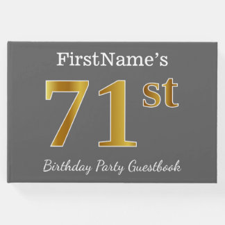 Gray, Faux Gold 71st Birthday Party + Custom Name Guest Book