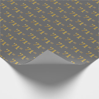 Gray, Faux Gold 71st (Seventy-First) Event Wrapping Paper