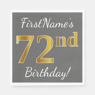 Gray, Faux Gold 72nd Birthday + Custom Name Disposable Napkins