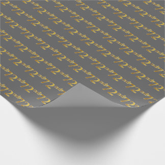 Gray, Faux Gold 72nd (Seventy-Second) Event Wrapping Paper