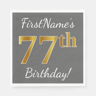 Gray, Faux Gold 77th Birthday + Custom Name Paper Napkin
