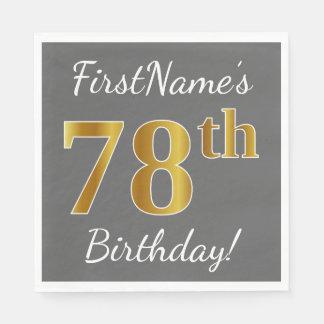 Gray, Faux Gold 78th Birthday + Custom Name Paper Napkin