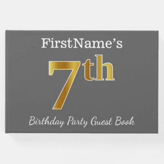 Gray, Faux Gold 7th Birthday Party + Custom Name Guest Book