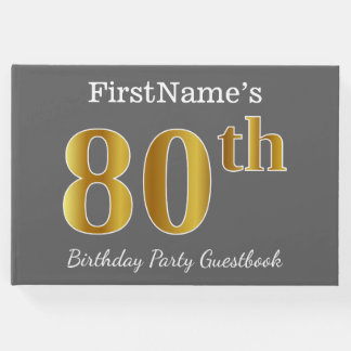 Gray, Faux Gold 80th Birthday Party + Custom Name Guest Book