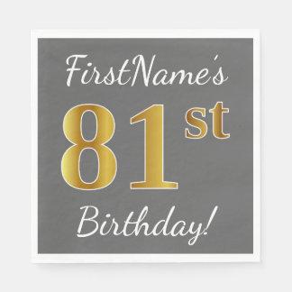 Gray, Faux Gold 81st Birthday + Custom Name Napkin