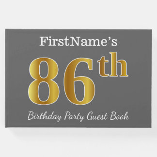Gray, Faux Gold 86th Birthday Party + Custom Name Guest Book