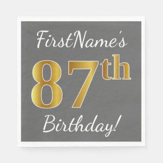 Gray, Faux Gold 87th Birthday + Custom Name Disposable Napkins