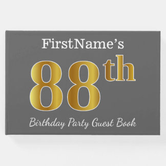 Gray, Faux Gold 88th Birthday Party + Custom Name Guest Book