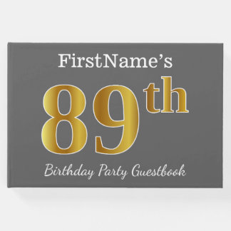 Gray, Faux Gold 89th Birthday Party + Custom Name Guest Book
