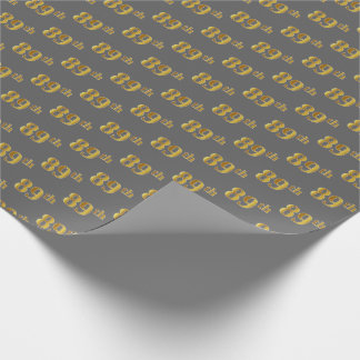 Gray, Faux Gold 89th (Eighty-Ninth) Event Wrapping Paper